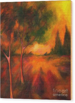 Wood Print featuring the painting Dusks Reflection by Alison Caltrider