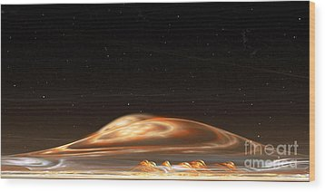 Wood Print featuring the digital art Dust Storm On The Red Planet by Richard Ortolano