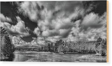 Wood Print featuring the photograph Dusting Of Snow On The River by David Patterson