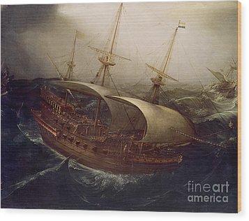 Dutch Battleship In A Storm Wood Print by Hendrick Cornelisz Vroom