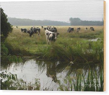 Dutch Cows Wood Print by Jan Daniels