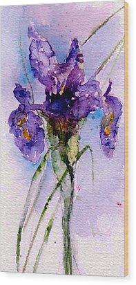 Dutch Iris Wood Print by Anne Duke