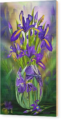 Dutch Iris In Iris Vase Wood Print by Carol Cavalaris