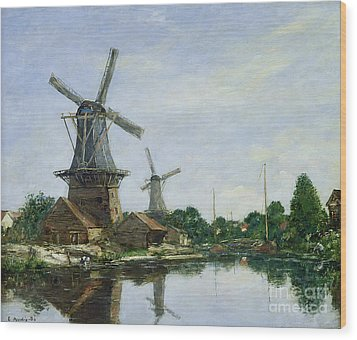 Dutch Windmills Wood Print by Eugene Louis Boudin
