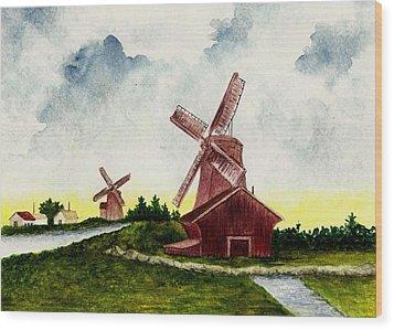 Dutch Windmills Wood Print by Michael Vigliotti
