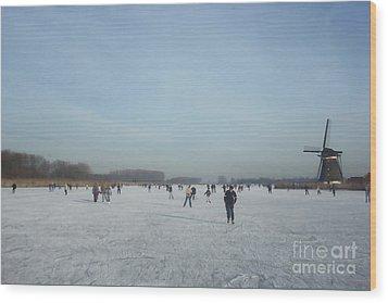 Dutch Winter Landscape Wood Print by Jan Daniels