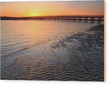 Duxbury Beach Powder Point Bridge Sunset Wood Print
