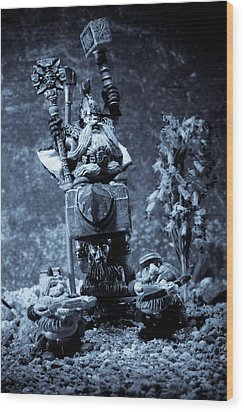 Dwarven Holy Anvil Wood Print by Marc Garrido