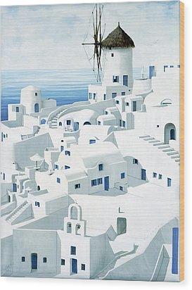 Dwellings, Santorini - Prints From Original Oil Painting Wood Print