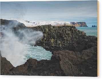 Wood Print featuring the photograph Dyrholaey Rock Arch Iceland by Matthias Hauser