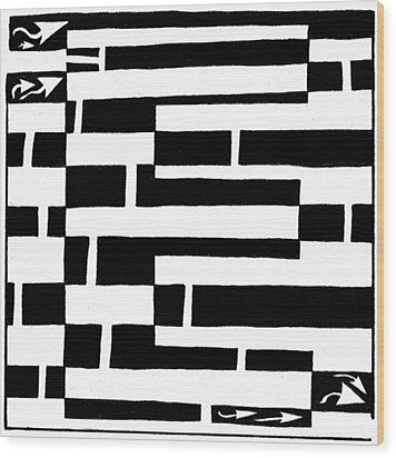 E Maze Wood Print by Yonatan Frimer Maze Artist