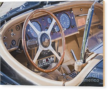 E-type Jaguar Dashboard Wood Print by Chris Dutton