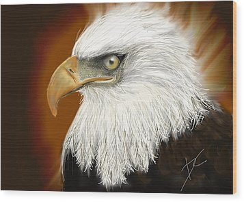 Wood Print featuring the digital art Eagle American by Darren Cannell