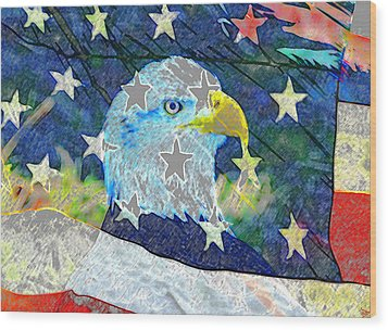 Wood Print featuring the digital art Eagle Americana by David Lee Thompson