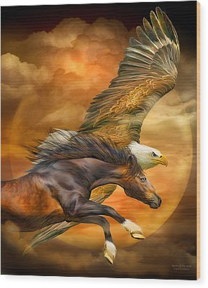 Wood Print featuring the mixed media Eagle And Horse - Spirits Of The Wind by Carol Cavalaris