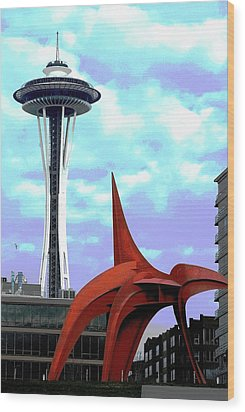 Wood Print featuring the photograph Eagle And Space Needle Seattle by Yulia Kazansky