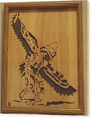 Eagle Dancer Wood Print by Russell Ellingsworth