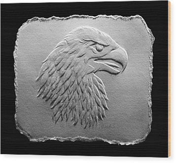 Wood Print featuring the relief Eagle Head Relief Drawing by Suhas Tavkar