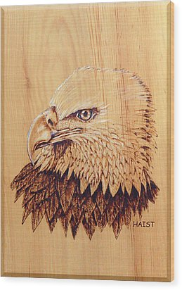Wood Print featuring the pyrography Eagle Img 2 by Ron Haist