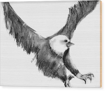 Eagle In Flight Wood Print by Marilyn Barton