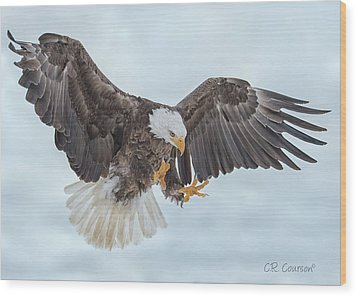 Eagle In The Clouds Wood Print by CR Courson