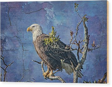 Eagle In The Eye Of The Storm Wood Print by Bonnie Barry