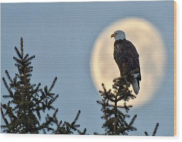 Eagle Moon Wood Print