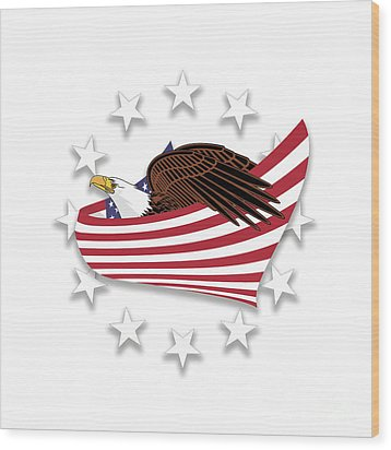 Wood Print featuring the digital art Eagle Of The Free V1 by Bruce Stanfield