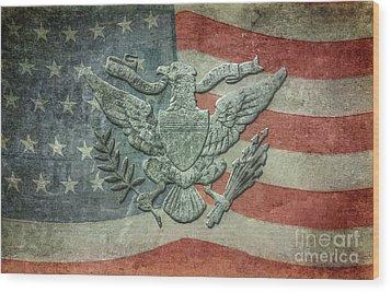 Wood Print featuring the digital art Eagle On American Flag by Randy Steele