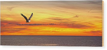 Eagle Panorama Sunset Wood Print