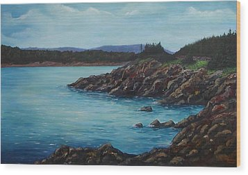 Eagle Point Cape Breton Island Nova Scotia Wood Print by Sharon Steinhaus