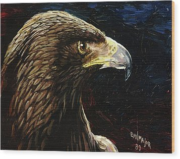 Eagle Profile Wood Print by Emil F Major