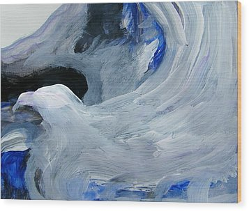Eagle Riding On Waves Wood Print