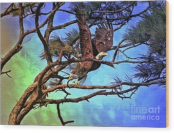 Wood Print featuring the painting Eagle Series 2 by Deborah Benoit