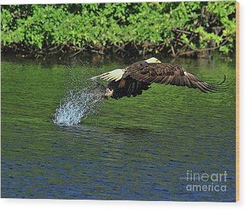 Wood Print featuring the photograph Eagle Series Fish Catch by Deborah Benoit