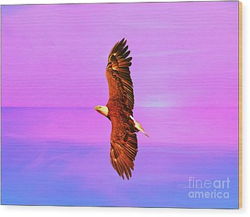 Wood Print featuring the painting Eagle Series Painterly by Deborah Benoit