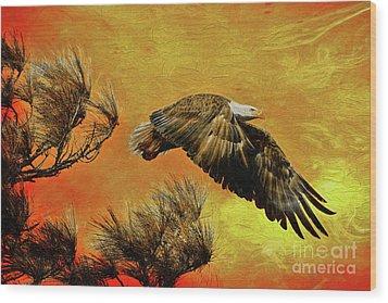 Wood Print featuring the painting Eagle Series Strength by Deborah Benoit