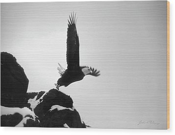 Eagle Takeoff At Adak, Alaska Wood Print by John A Rodriguez