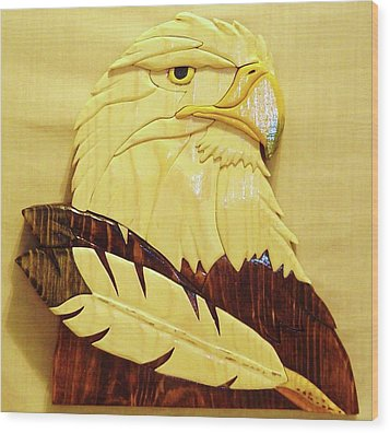 Eaglehead With Two Feathers Wood Print by Russell Ellingsworth