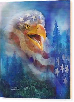 Eagle's Cry Wood Print by Carol Cavalaris