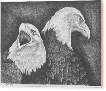 Eagles In Ink Wood Print by Lawrence Tripoli
