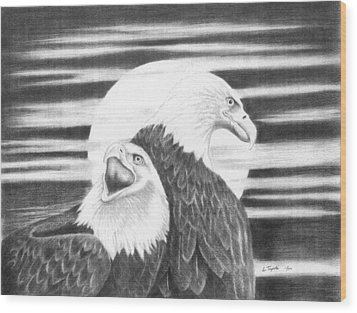 Eagles Wood Print by Lawrence Tripoli