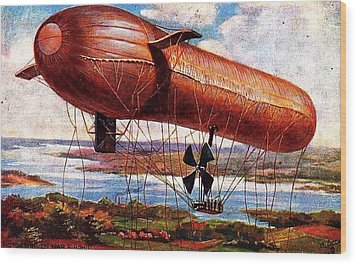 Early 1900s Military Airship Wood Print by Peter Gumaer Ogden