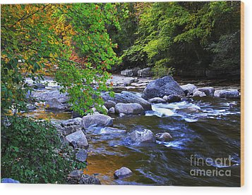 Early Autumn Along Williams River Wood Print by Thomas R Fletcher