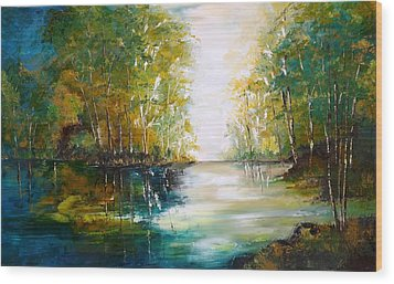 Early Autumn Lake Wood Print