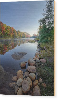 Wood Print featuring the photograph Early Color On Bald Mountain Pond by David Patterson