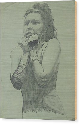 Wood Print featuring the drawing Early Drawing by Mike Jeffries