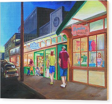 Early Evening Shoppers Wood Print by Bob Newman