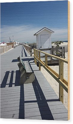 Early Morning Boardwalk Wood Print by Mary Haber