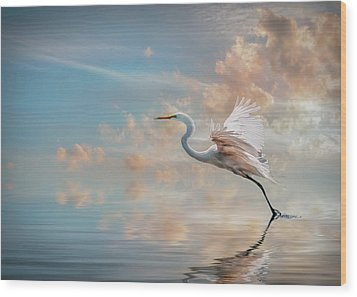 Early Morning Egret Wood Print